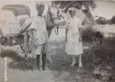 Agra Indian Hospital QAIMNS Matron With Musti White Horse and Busti Driver