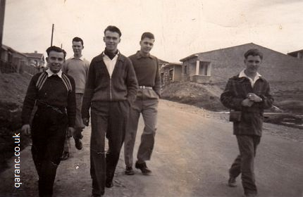 Bill Wind, Pete Goss, Kevin Cullen, John Tait and Paul Hodges walking down BMH Hill January 1959