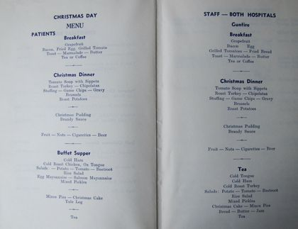 Christmas Day Hospital Menu