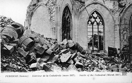 German Advance World War One Spring 1918 showing Peronne Cathedral