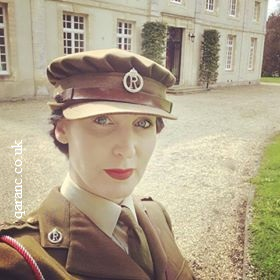 Gillian Clarke wearing QAIMNS World War Two Uniform