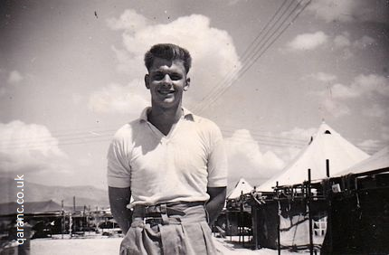 John Tait September 1958 outside army tents Cyprus