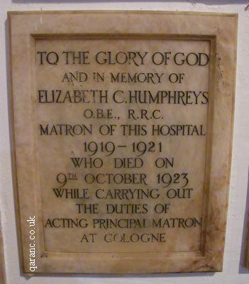 Matron Memorial Plaque