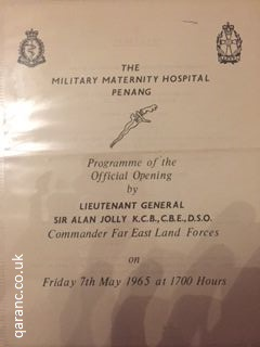 Programme official opening military maternity hospital penang lieutenant general sir alan jolly