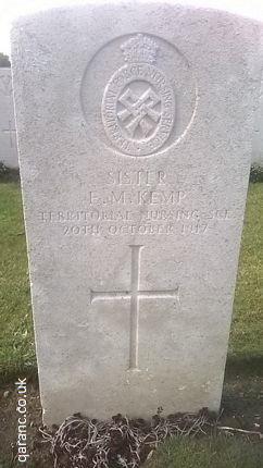 Sister Elise Margaret Kemp New Zealand Nurse First World War Godewaersvelde British Cemetery