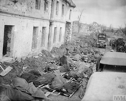 Stretcher cases awaiting transport to a casualty clearing station WWI Blangy near Arras 1917