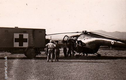 Transferring casualties from helicopter to ambulance at British Military Hospital Nicosia in 1958