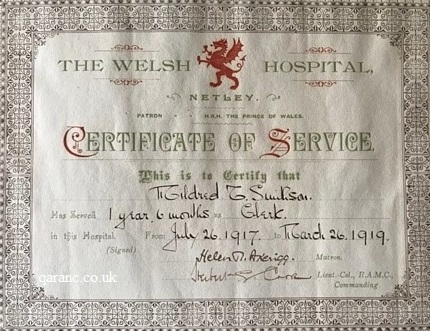 certificate of service the welsh hospital netley
