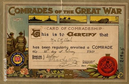 comrades of the great war card