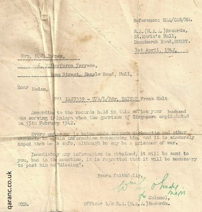 letter to family reporting missing soldier singapore 1941