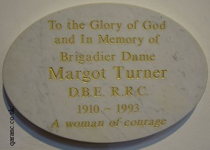 plaque Brigadier Dame Margot Turner Aldershot Garrison Church