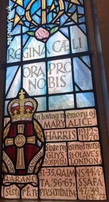 qaranc stained glassed window our lady queen of heaven catholic church