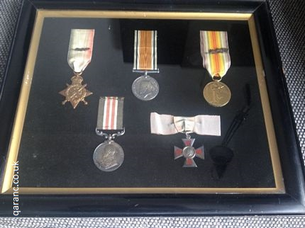 world war one medals in display case